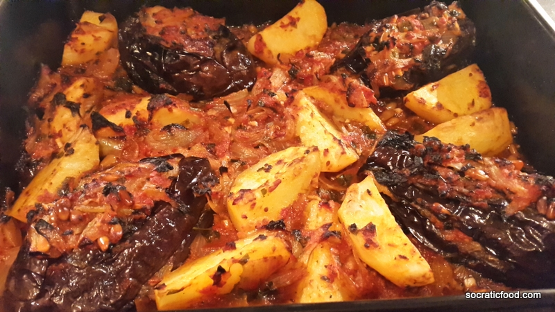 Stuffed aubergines in the oven