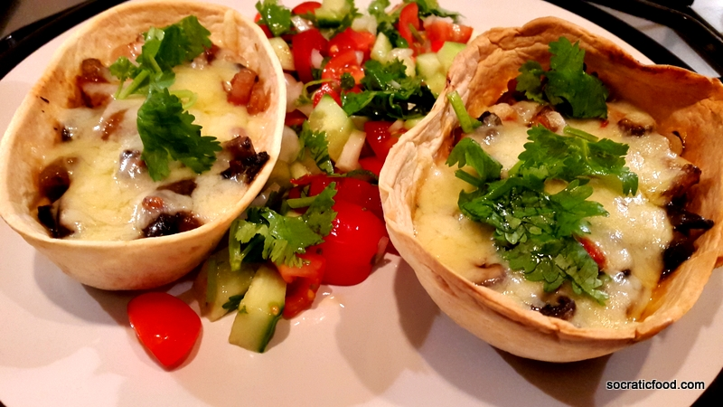 Tacos with mushrooms and cheese