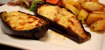 Eggplants topped with Beef and Bechamel Sauce
