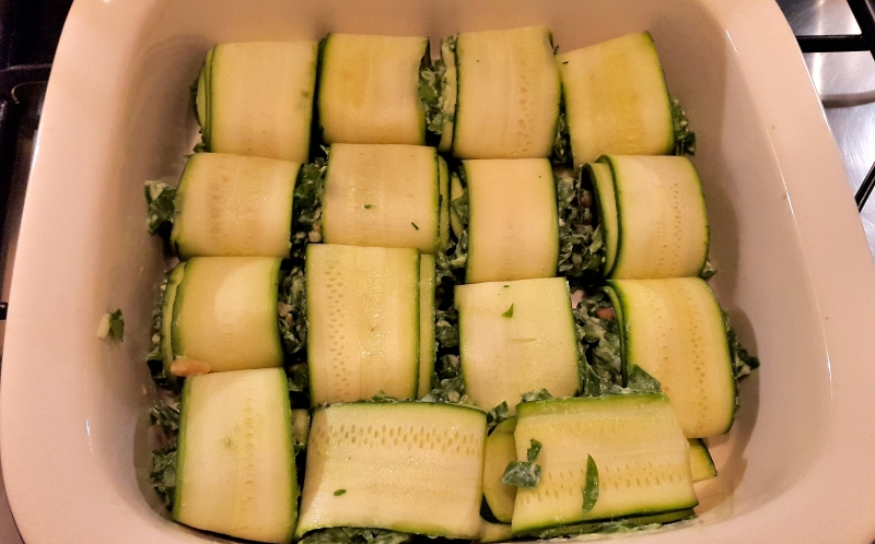 Courgette Rolls stuffed with Spinach and Ricotta