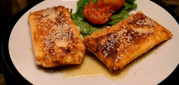 Fried Feta Envelopes with Honey and Sesame Seeds