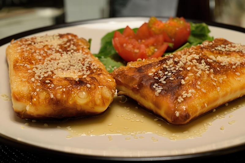 Fried Feta Envelopes with Honey and Sesame Seeds