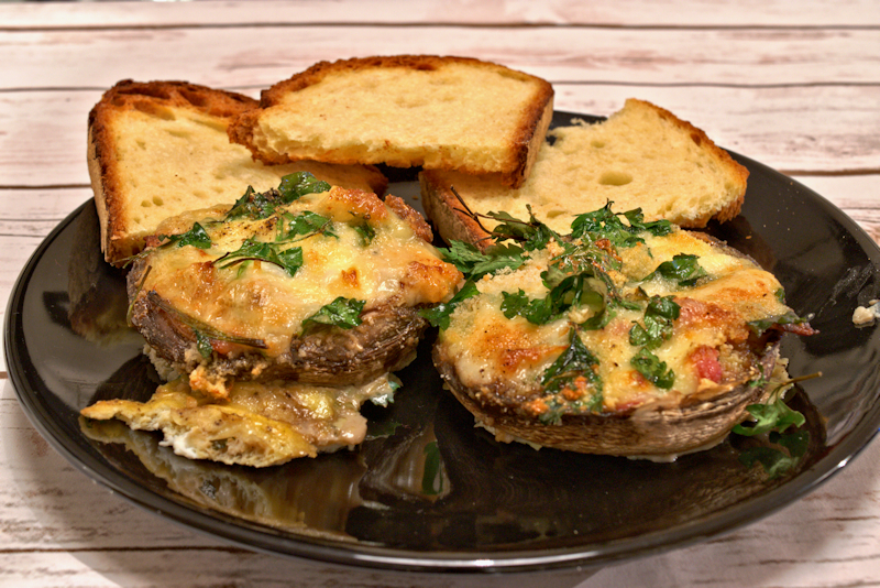Easy Portobello Mushrooms Stuffed with Cheese and Bacon