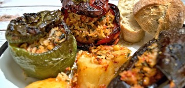 Greek-Style Stuffed Peppers and Eggplants