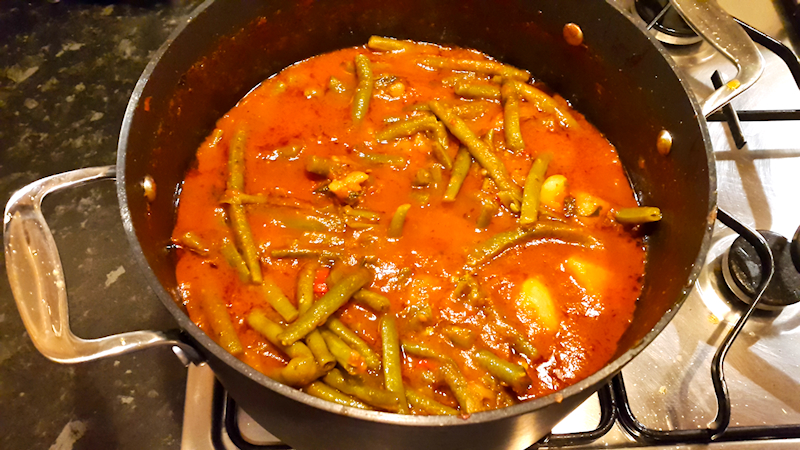 Vegetarian Green Bean Stew in a Rich Tomato Sauce