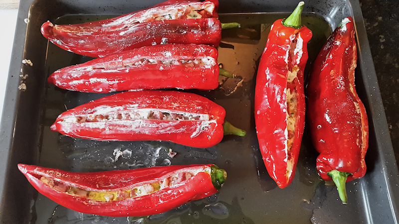 Grilled Peppers Stuffed with Goat Cheese and Feta