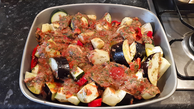 Eggplant and Zucchini Casserole in Tomato Sauce (Greek Briam)