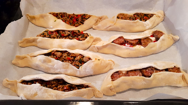Cheesy and Meat Turkish Pide (Peinirli)