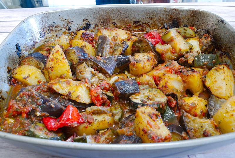 Eggplant and zucchini casserole in tomato sauce greek briam eggplant and zucchini casserole in tomato sauce greek briam forumfinder Image collections