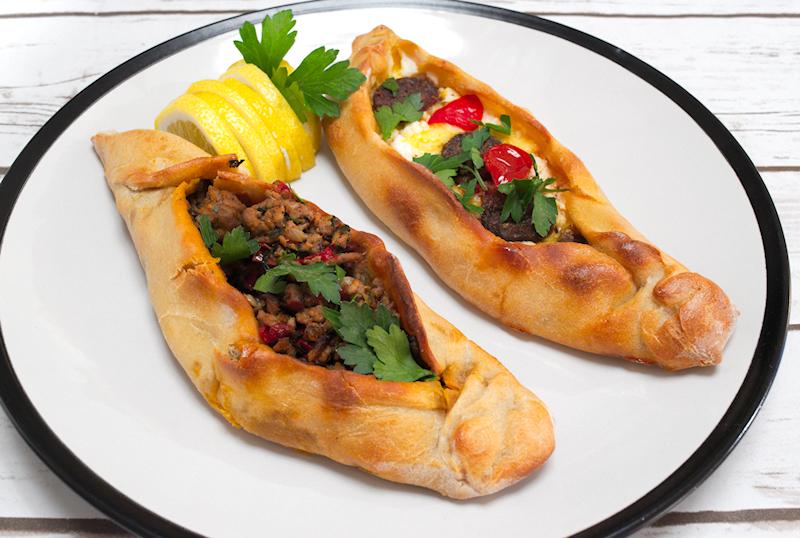 Cheesy and Meat Turkish Pide (Peinirli)