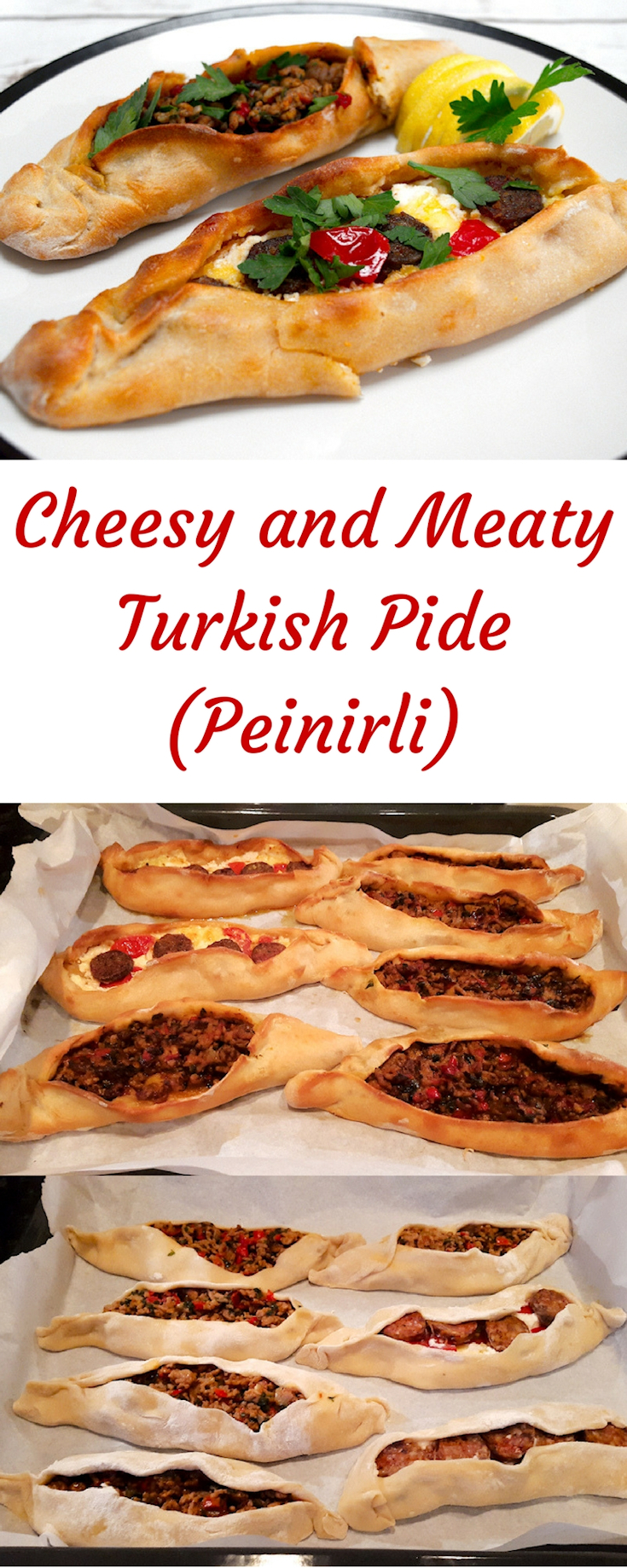 Cheesy and Meaty Turkish Pide (Peinirli)