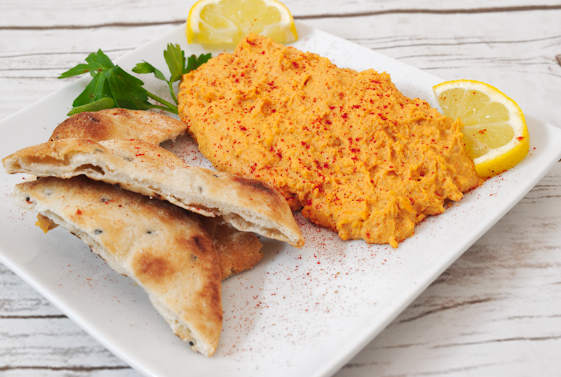 Homemade Hummus with Roasted Red Pepper
