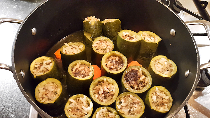 Stuffed Zucchini with Beef and Rice