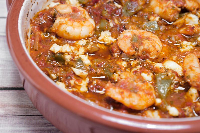 Shrimps in Tomato Sauce and Feta (Garides Saganaki)