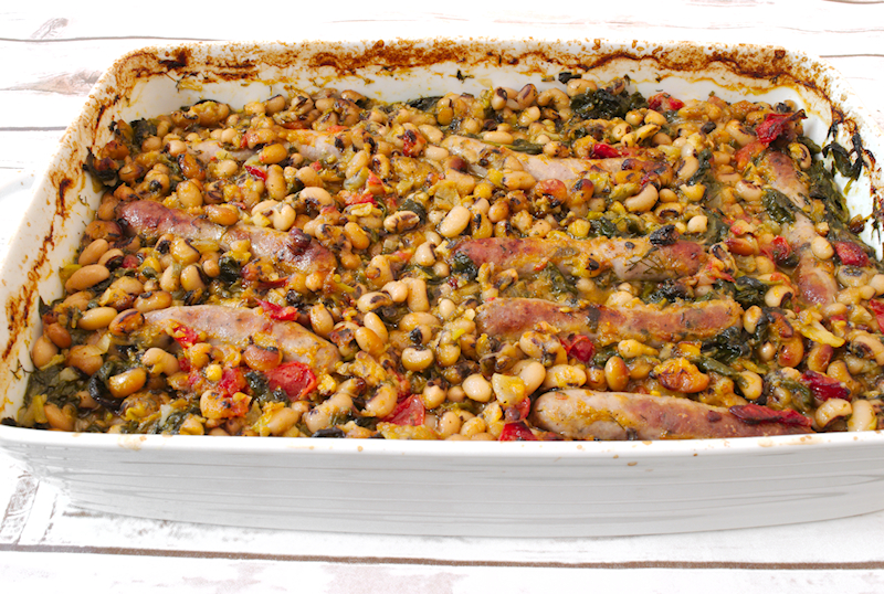 Black Eyed Beans Casserole with Sausage and Spinach