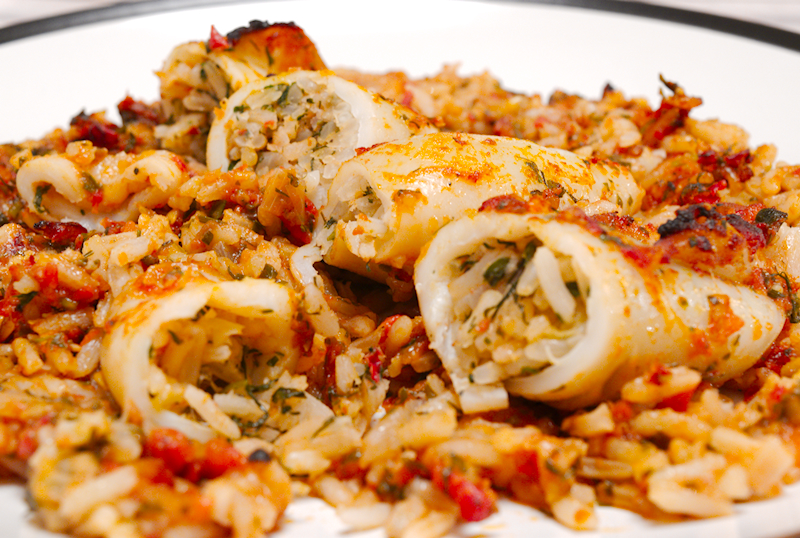 Stuffed Squid with Rice and Herbs (Kalamaria Gemista)