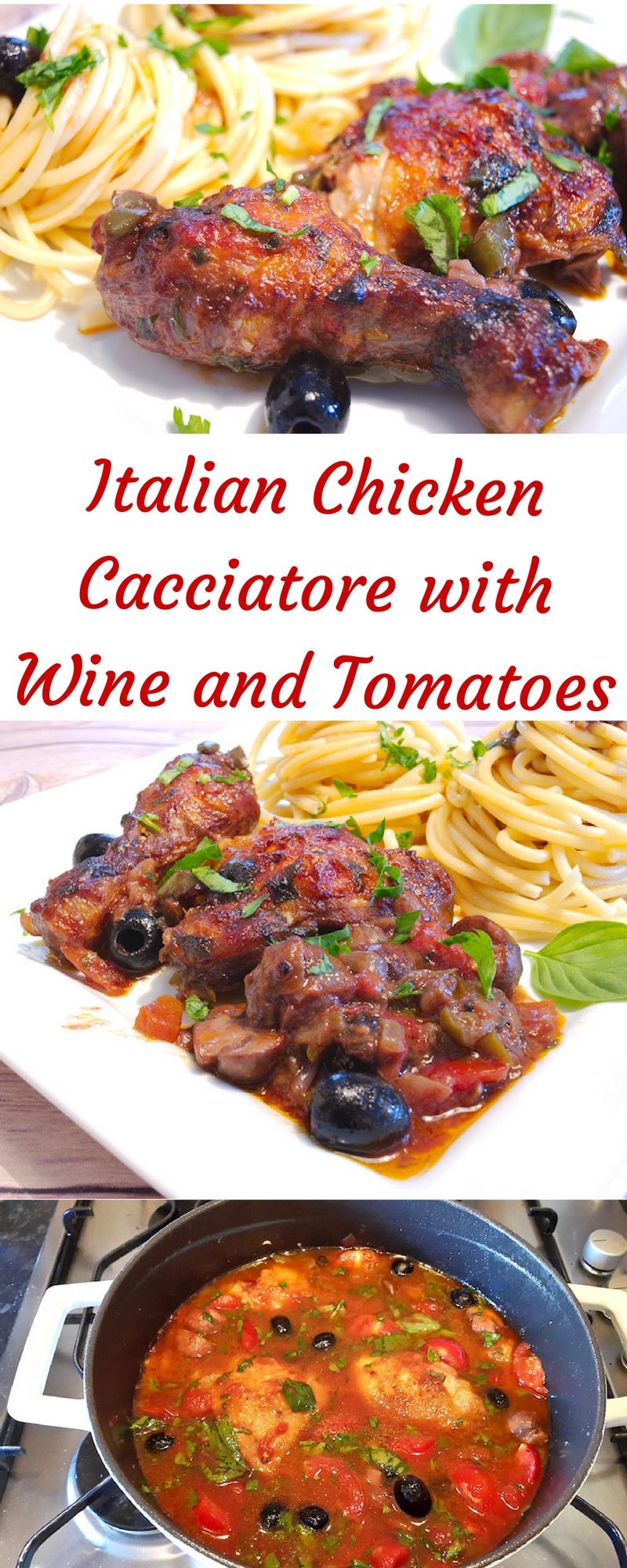 Italian Chicken Cacciatore Stew in Wine Sauce