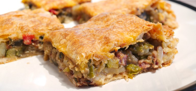 Smoked Sausage with Eggplant and Herbs Pie