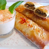 Moroccan Lamb Cigars with Harissa Dip