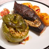 Stuffed Eggplants and Peppers with Rice and Herbs