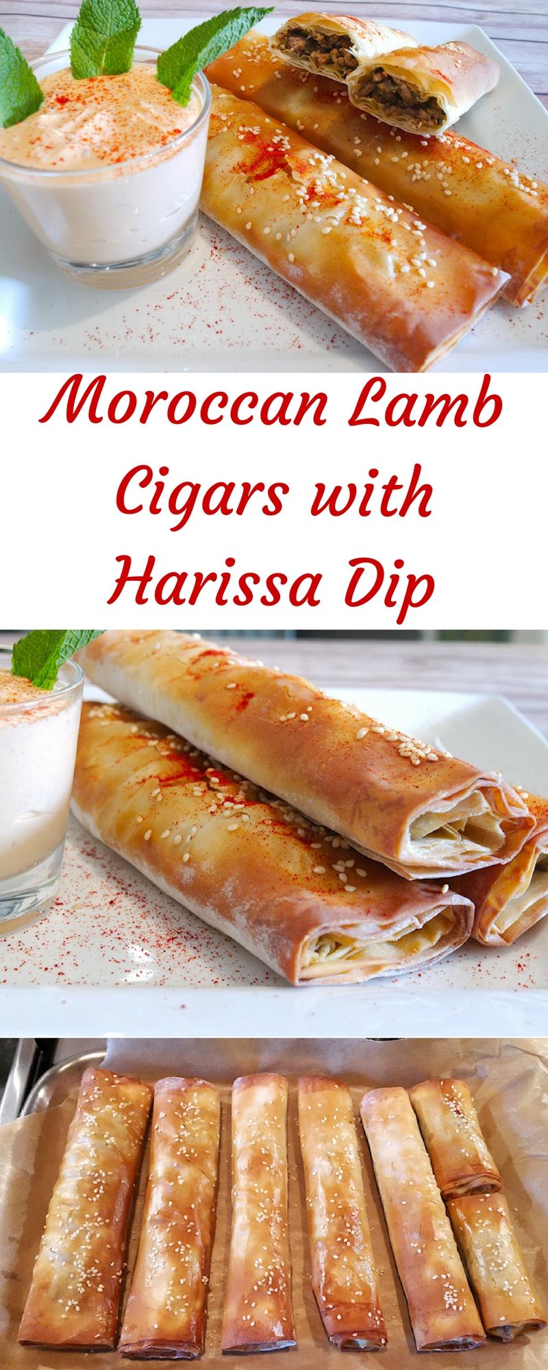 Moroccan Lamb Cigars with Harissa Dip