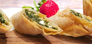Kale with Spinach and Feta Filo Rolls